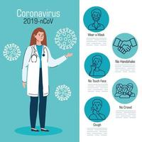 Coronavirus-Präventionsbanner mit Arzt