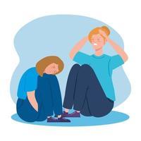Frauen sitzen mit Stress und Depressionen auf dem Boden