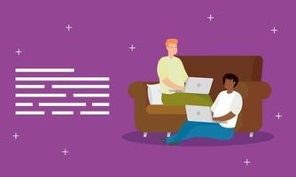 Männer, die an ihren Laptops auf der Couch arbeiten vektor