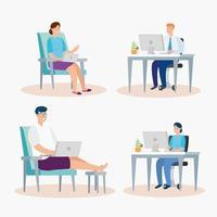 Menschen sitzen auf Stühlen mit Laptops