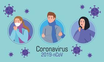 Menschen mit Coronavirus-Symptomen Banner vektor