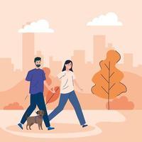 Menschen, die ihre Hunde im Freien laufen
