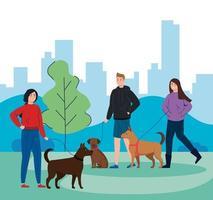 Menschen, die ihre Hunde im Freien laufen vektor