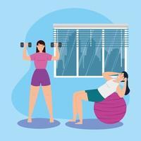 unga kvinnor som tränar tillsammans
