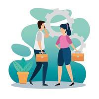 scen av coworking med par och redskap