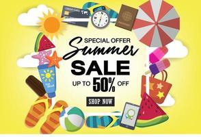 Sommer Super Sale Banner Vorlage auf Farbhintergrund. vektor