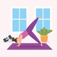 Frauen, die drinnen Yoga praktizieren vektor