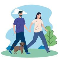 människor som går sina hundar utomhus