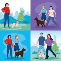 Szenen von Menschen, die mit ihren Hunden spazieren gehen