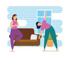 kvinnor som tränar i huset