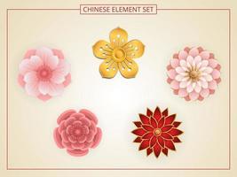 kinesiska blommor med rosa, röd, guldfärg i pappersskuren stil.