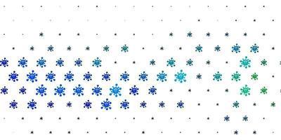 hellblauer, grüner Vektorhintergrund mit Virensymbolen.