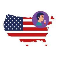 karta över USA och koronavirusförebyggande kampanj