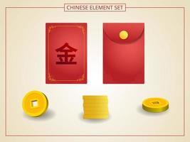 kinesisk angpao röd färg med gyllene mynt i pappersskuren stil