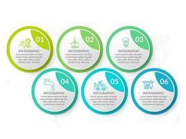 Infografik Template Design mit 6 Farboptionen. vektor