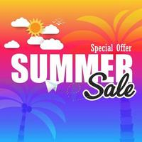 sommar super försäljning banner mall på färgbakgrund.