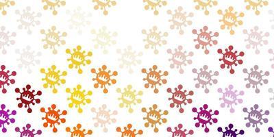 ljusrosa, gul vektorbakgrund med virussymboler.