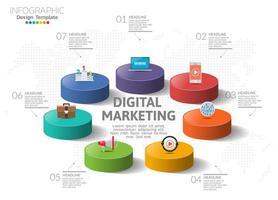 digitalt marknadsföringskoncept. infografiskt diagram med ikoner, kan användas för arbetsflödeslayout, diagram, rapport, webbdesign.