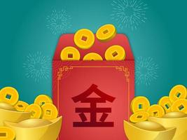 kinesisk angpao med gyllene mynt och göt