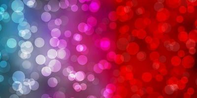 ljusblå, röd vektor bakgrund med cirklar.