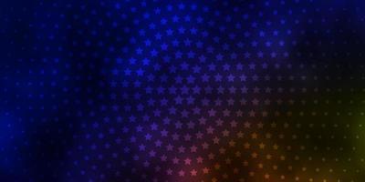 dunkelblaues, gelbes Vektorlayout mit hellen Sternen.