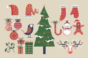uppsättning jul och nyår element vektor