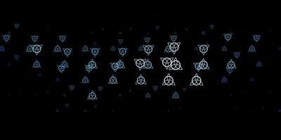 dunkelblaues Vektormuster mit magischen Elementen.