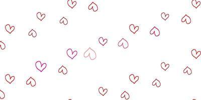ljusröd vektorbakgrund med hjärtan.