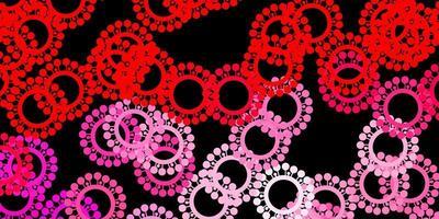 mörk röd vektor bakgrund med covid-19 symboler.