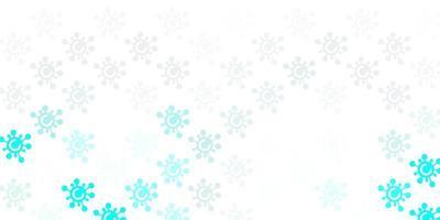 hellblauer, grüner Vektorhintergrund mit covid-19 Symbolen