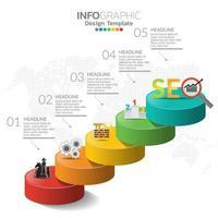 Infografik Konzept Illustration von SEO Infografiken mit Business Layout Vorlage.