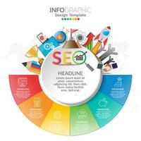 infographic koncept illustration av seo infographics med affärslayoutmall.