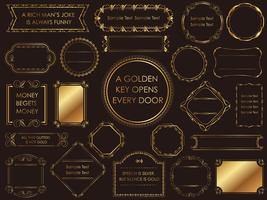 En uppsättning olika guld vintage ramar.