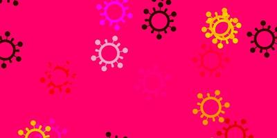 ljusrosa, gul vektorbakgrund med virussymboler