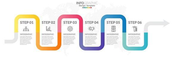 Timeline-Infografiken mit Schritt- und Marketing-Symbolen vektor