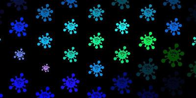 dunkelblaues, grünes Vektormuster mit Coronavirus-Elementen vektor