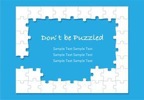 Ein weißer Puzzlespielrahmen auf einem blauen Hintergrund. vektor