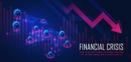 global finanskris från viruspandemi vektor