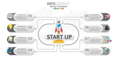 Infografik-Elemente mit Symbolen im Konzept für den Start. vektor
