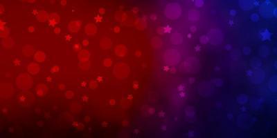 hellblaue, rote Vektorbeschaffenheit mit Kreisen, Sternen.