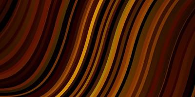 dunkelorange Vektormuster mit gekrümmten Linien. vektor