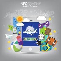 Go-Reise-Konzept mit einem Passagierflugzeug Mobile Ticket für App.