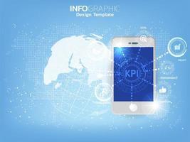 en smartphone och ikon med kpi-koncept.