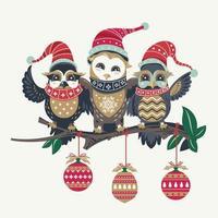söta ugglor vid jul säsongsdesign vektor