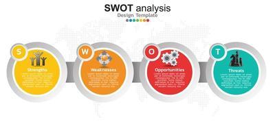 fyra färgglada element med ikoner och plats för text i begreppet swot-analys.