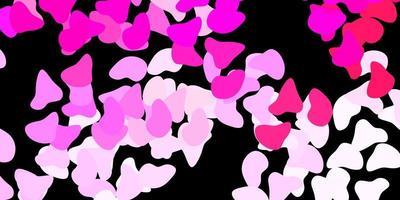 dunkelrosa Vektorschablone mit abstrakten Formen.