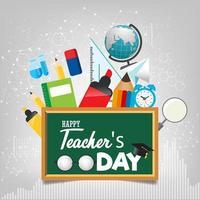glad lärares dagmall för affisch eller banderollkoncept vektor