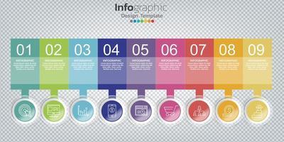 Infografik im Geschäftskonzept mit 8 Optionen, Schritten oder Prozessen. vektor