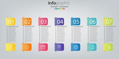 Infografik im Geschäftskonzept mit 7 Optionen, Schritten oder Prozessen. vektor