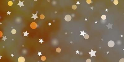 hellorange Vektorschablone mit Kreisen, Sternen.